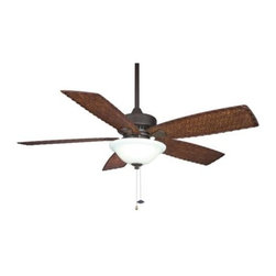 Fanimation - Fanimation Cancun 52 Damp with Light Ceiling Fan in Oil-Rubbed Bronze - Fanimation Cancun 52 Damp with Light Model FP8011OB in Oil-Rubbed Bronze with All Weather Composite Antique Woven Bamboo Finished Blades.