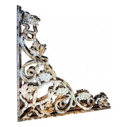 "Iron Shelf Brackets - Old, crusty, rusted, beautiful. Install easily to decorate a doorway , separate a room or hold a shelf. Several pairs available, sold by the pair. 21"" long each way."