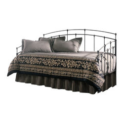 Leggett/Platt Fashion Bed - Twin Size Daybed In Black Walnut Finish - This black walnut finished metal daybed combines the charm of this style with the flair of more contemporary pieces. The curvature of the back section is mimicked by the side arms. Decorative spindles are spaced widely apart, and intersect the frame in a beaded pattern. Link spring included!. In Black Walnut. Made of metal. 39 1/4 in. L x 79 1/4 in. L x 43 3/4 in. HThe clean lines of the Fenton are reminiscent of great architectural styles of the past. The back panel of the daybed has curved shape, straight lines and ball castings, with the arms mirroring the shape of the back as well.