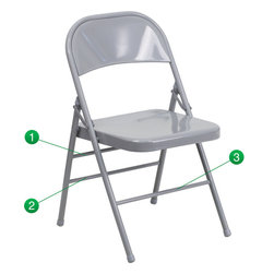 Flash Furniture - Flash Furniture Hercules Series Triple Braced and Double Hinged Folding Chair - When in need of temporary seating this heavy duty all steel gray metal chair by Flash Furniture is perfect. This portable folding chair can be used for Parties, Graduations, Sporting Events, School Functions and in the Classroom. This chair will be the perfect addition in the home when in need of extra seating to accommodate guests. The chair will not take up anywhere near as much space as chairs that cannot fold when it comes time to clean up. This economically priced chair will endure some heavy usage with an 18-gauge steel frame, triple braced and leg strengthening support bars.