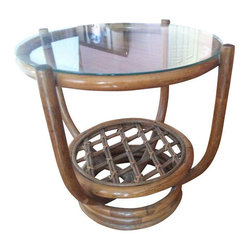 Round Rattan & Glass End Table - $400 Est. Retail - $250 on Chairish.com -