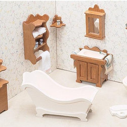 Greenleaf - Greenleaf Bathroom Furniture Kit Set - 1 Inch Scale - 7204 - Shop for Dollhouses and Dollhouse Furnishings from Hayneedle.com! The Greenleaf Bathroom Furniture Kit Set - 1 Inch Scale instantly creates a stylish relaxing bathroom. Classic country themes are seen in each exquisite piece from the claw-foot tub to the three decorative shelves. The commode and scale are a bright crisp white while the hamper medicine cabinet mirror and more can be stained or painted to your specifications for a personalized look that transforms your dollhouse instantly. This furniture set comes unassembled and without stain. All furniture pieces are 1-inch scale. Furniture Set Includes: Toilet Toilet paper holder Scale Bathtub Sink Medicine cabinet Hamper Mirror Wall shelf Corner shelf Towel shelf About GreenleafEstablished in 1947 Greenleaf Steel Rule Die Corp is a leading manufacturer of all-wood dollhouse kits furnishings and accessories. Located in Schenevus N.Y. Greenleaf is acknowledged by many in the miniatures industry for its outstanding design and superior quality. Greenleaf wooden dollhouse kits are an ideal project for collectors or families who want to create lasting keepsakes.