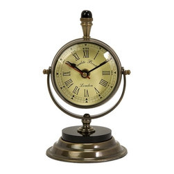 IMAX CORPORATION - Soren Brass Table Clock - Keep time with this brass desk clock. Find home furnishings, decor, and accessories from Posh Urban Furnishings. Beautiful, stylish furniture and decor that will brighten your home instantly. Shop modern, traditional, vintage, and world designs.