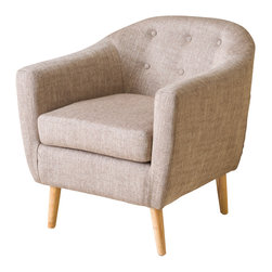 Great Deal Furniture - Mariana Fabric Club Chair, Tan - The Mariana Club Chair is a great piece for any room in your home. The rounded shape gives off a retro vibe, while the cushion design provides all of the comfort benefits of a club chair. With its innovative look and attention to detail, this chair is a perfect blend of form and function, whether placed in your living room, office or bedroom.