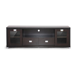 """Gosford Brown Wood Modern TV Stand - With a bevy of storage solutions and beautiful contemporary design, the Gosford TV Stand is the perfect perch for your television and accessories to reside.  This modern entertainment center is made of lapped particle board with dark brown wood grain-effect paper veneer with water and scratch-resistant MB coating on the top panel.  Two center drawers and two side cabinets frame a singular open storage space.  Each side cabinet features inward-sliding tempered glass doors as well as a 3-position adjustable shelf.  Silvertone metal drawer pulls finish offeethis television cabinet.  The TV stand is made in Malaysia; assembly is required.  To clean, dust with a dry cloth.product dimension:69.4375""""Wx15.5625""""Dx23.3125""""H. Upper compartment dimension:35.25""""Wx13.625""""Dx9.5""""H with round -shaped hole in back for wire management( 2"""" in diameter) ,lower middle drawers(2) dimension:11.1875""""W x 15.1875""""D x 5""""H, sliding door compartments (left and middle total 4 ): 14.625""""Wx14.25""""Dx8.625""""H"""