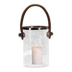 Zodax - Zodax Leaf Design Ice Bucket Hurricane with Leather Handle-Large - Zodax - Candle Holders / Lanterns - CH2877. Leaf Design Ice Bucket/Hurricane with Leather Handle