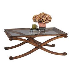 Bassett Mirror - Rectangular Glass Top Cocktail Table w X-Shap - Wellington Collection. Traditional style. Made of Asian hardwood. Dark Fruitwood finish. 50 in. W x 30 in. D x 19 in. H (40 lbs.)