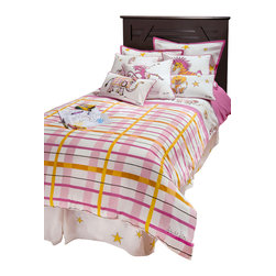 "Rizzy Home - Girls Punk Animal Plaid Pink Full Size Comforter Bed Set - Rachel Kate Punk Rock Animals ""Girls"" pink, yellow and white plaid comforter set is accented with a insert border across the top of the comforter all of her punk rock animals.  Monkeys, elephants, zebras, lions, and giraffes all punked out really accent this bed.  Then add a stripe of hot pink above the inserted accent.  The standard shams is all white with yellow stars with a hot pink border."