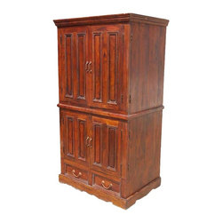 Solid Wood Double Door TV Cabinet Media Storage Armoire Hutch - This elegant double cabinet features double doors and on both the bottom and top hutch. The upper hutch features a large cabinet ideal for a wide screen TV. The back wall has a pre-cut cable hole.