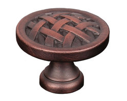 Lattice Pie Cabinet Knob - The lattice work on the Cross-Hatched Cabinet Knob really picks up the highlights of any of the 5 available finishes. This knob would be great in traditional style kitchens, and we can't help but picture it on the door to a wine cabinet. It is available in 1-1/4 inch and 1-1/2 inch diameters.