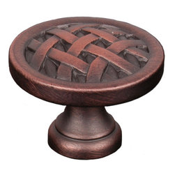 Lattice Cabinet Knob - The lattice work on the Cross-Hatched Cabinet Knob really picks up the highlights of any of the 5 available finishes. This knob would be great in traditional style kitchens, and we can't help but picture it on the door to a wine cabinet. It is available in 1-1/4 inch and 1-1/2 inch diameters.