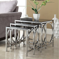 None - Chrome Black Glass Nesting 3-piece Side End Table Set - This functional set of three nesting tables have a beautiful chrome finish with black glass. Featuring a round ring on the sides, these modern accent pieces can be used as end tables, lamp tables, or decorative display tables.