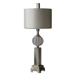 Uttermost - Uttermost Barzillay Table Lamp w/ Drum Shade in Silver Taupe Linen - Table Lamp w/ Drum Shade in Silver Taupe Linen belongs to Barzillay Collection by Uttermost Metal wire sphere with brushed aluminum details. The round, hardback drum shade is a silver taupe linen fabric. Table Lamp (1)