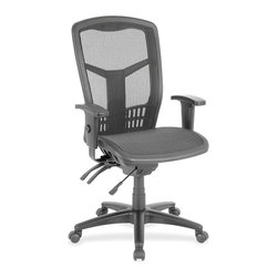 "Lorell - Lorell Executive Mesh High-Back Chair - Mesh Black Seat - Steel Black - Executive high-back chair features a mesh back chair, mesh seat and ergonomically designed high back for the natural curvature of a person's back. Arms adjust in height and width. Seat height from floor adjusts from 17"" to 21"". High-back chair offers a nylon five-star base, pneumatic seat-height adjustment, 360-degree swivel, tilt and asynchronous three-lever control. Steel frame is plastic-coated. Weight capacity is 250 lb. High-back chair is available in black frame only and meets the CA117 fire-retardant standard."