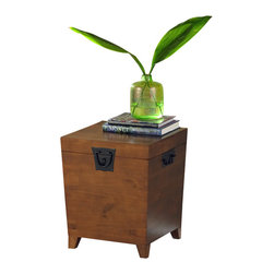 Holly & Martin - Holly & Martin Dorset Trunk End Table in Oak - The compliment to the trunk cocktail table, this trunk end table features the same concept of storage and table space. Perfect for storing candles and blankets in case of power outages or just a romantic evening at home. * Combination of contemporary style and usefulness. This wooden trunk will not only help you organize your living room by giving you extra storage, but also look great. Black metal handles complete this simple design. Assembly: Required. Material of construction: MDF. 20 in. W x 23.68 in. H x 20 in. D