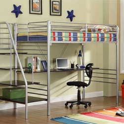 Donco Kids - Twin Metal Stairway Study Loft - Free up space in any small bedroom with this modern metal loft bed. Finished a silver metallic color,this metal loft comes complete with a desk space and features a unique metal staircase up to the top bunk that can also be used as shelving.