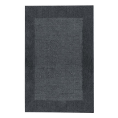 Riverdale rug in Denim - These sturdy, hand loomed area rugs are woven of 100% pure wool and sheared by hand for a smooth - yet durable - surface.  The cut pile border and textured field make a quiet decorative statement, and the array of available color choices help them fit easily into any decor.