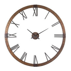 Uttermost Amarion, Clock - This oversized clock features hammered copper sheeting with a light gray wash and aged black details. Center hands movement is separate from the outside frame. Uses one AA battery. Some assembly required.
