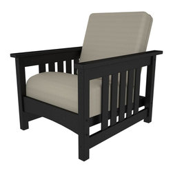 Polywood - Mission Chair in Black - Mission style and deep comfort come together in this attractive chair. This chair is built to be durable, good-looking and low maintenance for many years to come. Lumber provides the look of painted wood without the maintenance and requires no painting, staining, waterproofing, or similar maintenance. Solid, heavy-duty construction withstands nature's elements. Lumber does not splinter, crack, chip, peel or rot and it is resistant to corrosive substances, insects, fungi, salt spray and other environmental stresses.