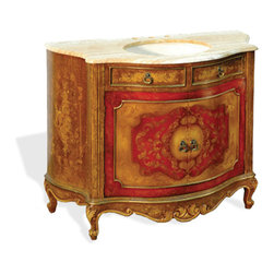 Top Wally Vanity, Old Gold Distressed and Fresco Red Distressed W/ Scrolls - Top Wally Vanity, Old Gold Distressed and Fresco Red Distressed W/ Scrolls and Marble Top