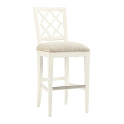 Lexington - Tommy Bahama Home Ivory Key Newstead Bar Stool - The standard fabric is a linen weave construction in a light parchment coloration. Other fabrics may be applied to the custom version, see store for details. Design details include the decorative back splat and metal kick plate.