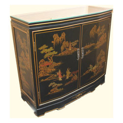 n/a - Oriental Hall Chest Two Doors With Shelf And Glass Top - 32 inch Wide slant front Oriental cabinet with two doors, glass top, Brass hardware and shelf at Import direct pricing. Antique black background and Rich gold Japanese landscape art makes this the perfect entry way piece. Dimensions: 32 x 12/14 x 30 inches high. Purchase now, supplies are limited on quality hand made imports.Beautifully crafted with rich details will look fabulous in any contemporary, cottage or Asian room.