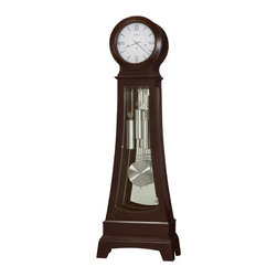 Howard Miller - Gerhard Floor Clock - Features: -Chocolate finish. -Brushed nickel finished weight shells and grid pendulum. -Hardwoods and veneers construction. -Nickel finished capsule. -Free nickel Heirloom Nameplate will be engraved with your name and special date. -Multi-tiered base features a distinctive cutout on the front and sides. -Glass mirrored back. -Fashionable floor clock features a hinged top door with convex glass, and a hinged glass bottom door with nickel knob and hinges. -Bent glass on sides. -Cable-driven, Westminster chime Kieninger movement an automatic nighttime chime shut-off option. -White dial applied brushed nickel Arabic numerals and bar markers with nickel finished hour and minute hands. -Adjustable floor levelers under all four corners level the clock on uneven and carpeted surfaces. -Illuminated case and dial. -Made in the USA.
