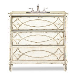 "Cole & Co - Designer Ella Sink Chest - Three drawers. Two of the three drawers are available for coveted bathroom storage. Handpainted white washed finish. Mild distressing, carved drawer fronts and painted knobs. 37 in. W x 18 in. D x 37 in. H (185 lbs.)The Ella Sink Chest is a charming vanity that will complement your traditional or transitional decor. Cole + Co. Carlylse Drop-in for use with existing wooden top; Cole + Co. Fairfield undermount should you want to add your own granite, marble or quartz top.  If stone top is preferred, please note on order ""Cut for Granite"" and our craftsmen will cut a large hole in the top of the vanity prior to shipment so that sink positioning during stone top installation is easier.  Please note all sink recommendations presume a standard 8 in. widespread faucet installation with 1 3/8in. valves and no special placements.  Any and all vanities with custom cuts (including for a specified sink or stone top) are considered a special order, and therefore are non-returnable.  Cole will also cut to your own custom sink presuming it fits.  Just note on the order which sink you will be using.  If we do not have a template for your particular sink, to insure a proper fit, we may require you to send the sink or a template."