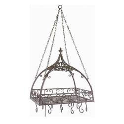 Imax Worldwide Home - Domed Pot Rack - Hanging. Made from 100% wrought iron. Rectangular shape. Brown color. 24 in. L x 17.75 in. W x 23 in. H (21.4 lbs.). Includes hooks. Traditional style. Open metal-work design