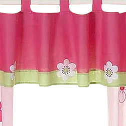 Sweet Jojo Designs - Pink and Green Flower Window Valance - The Pink and Green Flower Window Valance is a gorgeous window treatment that will add a designer's touch to any nursery. This valance softens the look of the window and obscures pulled up blinds. It will coordinate nicely with your Sweet Jojo Designs bedding or can be used as an accent with your own room design.
