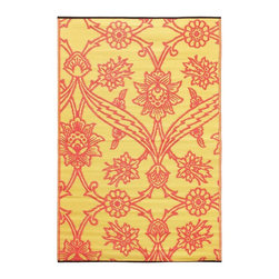 Achla - Persimmon Fuchsia Flowers Floor Mat - Color the ground you walk or sit on with these polyurethane woven floor mats. Spread them out at the beach, on the porch, floors in the kitchen and childrens rooms or hang them on the wall. Soft on the feet and easy to wipe clean. We recommended using carpet tape to hold them in place indoors. Our mats are made to last, but like everything else, we need to take good care of them. Ideally they should be kept rolled when not in use. Try to avoid leaving mats exposed to sun or rain for long periods of time. Wash by hand and allow to drip dry. Polyurethane, woven floor mats. Used both Indoor and Outdoor. Construction Material: Plastic. No Assembly Required. 48 in. W x 72 in. D x 0.25 in. H (3 lbs.)
