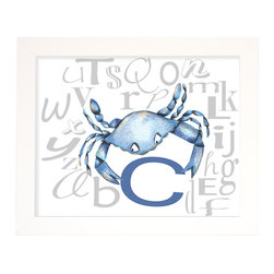 "Doodlefish - Blue Crab Alphabet - C is for Crab. Help your little one learn the alphabet and decorate at the nursery or playroom at the same time. Hang alone or pair with other letters from the alphabet for colorful and educational wall art. The artwork is a high quality giclee print that is finished in a sleek, flat white frame. The original artwork was created by Regina Nouvel. The finished size of the artwork is 16"" wide x 13"" tall. The artwork is created and produced in the USA."