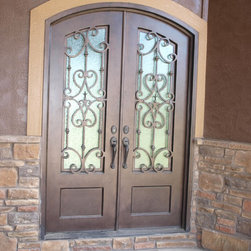 """3/4 Lite Arch Top Double Door - 64"""" x 96"""" Hand Rubbed Bronze with Flemish glass"""