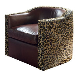 vanCollier - Caldwell Tub Chair - Caldwell Tub Chair from the Cyrus collection. Swivel base.  The tub chair is wrapped in a leopard print cowhide. The cushions are clad in a supple bordeaux leather.