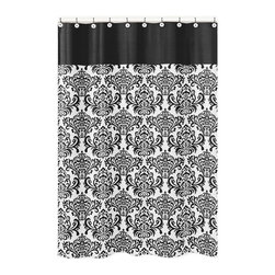 Sweet Jojo Designs - Sweet Jojo Designs Black and White Isabella Shower Curtain - Keep the water in and the cold out with this Isabella black and white shower curtain. With its unique and eye-catching vintage floral motif,this curtain will help you overall your bathroom's decor,achieving a new level of sophistication.