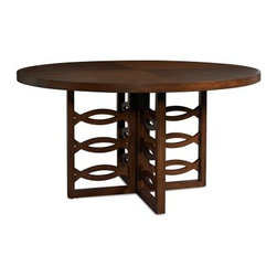 Somerton Claire de Lune Pedestal Table - American Cherry - With an alluring design that features interlacing curves and a big graceful tabletop, the Somerton Claire de Lune Pedestal Table – American Cherry is a true centerpiece for the dining room. There's also is a beautiful geometric pattern in inlaid cherry and walnut on the tabletop that acts as a counterpoint to curvaceous theme. Pair this table with matching Claire de Lune (sold separately) chairs or choose your own. The Claire De Lune collection from Somerton is a truly tremendous achievement in transitional style. Balancing the old with the new with aplomb and ease seen nowhere else, these pieces are built of American cherry with cherry and walnut veneers with inlaid geometric patterns and stylish silver hardware. The lines are soft and sweeping, but the upgrades are serious – full-extension drawer glides, English dovetails, stained and finished inside birch drawers, and built-in plugs. To clean, use only a dry or damp cloth – no oil-based cleaners. About Somerton Home FurnishingsFor over 20 years, Somerton has meant quality furniture and a quality company. Its warehouses and distribution centers, located both in the United States and China, provide environmentally friendly manufacturing locations as well as mindful employment spaces. Top-of-the-line materials such as eco-friendly rubberwood, solid wood, and wood veneers are used to create Somerton pieces. Any Somerton furnishing you choose will make a welcome, stylish addition to your home.