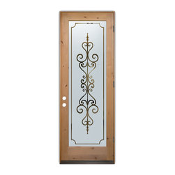 Sans Soucie Art Glass (door frame material T.M. Cobb) - Glass Front Entry Door Sans Soucie Art Glass Carmona - Sans Soucie Art Glass Front Door with Sandblast Etched Glass Design. Get the privacy you need without blocking the light, thru beautiful works of etched glass art by Sans Soucie!  This glass is semi-private.  (Photo is view from outside the home or building.)  Door material will be unfinished, ready for paint or stain.  Bronze Sill, Sweep and Hinges. Available in other sizes, swing directions and door materials.  Dual Pane Tempered Safety Glass.  Cleaning is the same as regular clear glass. Use glass cleaner and a soft cloth.