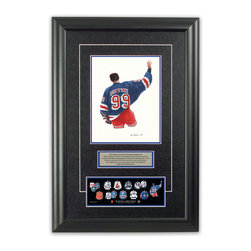 "Heritage Sports Art - Original art of the NHL 1998-99 Wayne Gretzky jersey - This beautifully framed piece features an original piece of watercolor artwork glass-framed in an attractive two inch wide black resin frame with a double mat. The outer dimensions of the framed piece are approximately 17"" wide x 24.5"" high, although the exact size will vary according to the size of the original piece of art. At the core of the framed piece is the actual piece of original artwork as painted by the artist on textured 100% rag, water-marked watercolor paper. In many cases the original artwork has handwritten notes in pencil from the artist. Simply put, this is beautiful, one-of-a-kind artwork. The outer mat is a rich textured black acid-free mat with a decorative inset white v-groove, while the inner mat is a complimentary colored acid-free mat reflecting one of the team's primary colors. The image of this framed piece shows the mat color that we use (Medium Blue). Beneath the artwork is a silver plate with black text describing the original artwork. The text for this piece will read: This original, one-of-a-kind watercolor painting of Wayne Gretzky's 1998-99 jersey as worn in the final game of his career is the original artwork that was used in the creation of this Wayne Gretzky jersey evolution print and tens of thousands of Wayne Gretzky products that have been sold across North America. This original piece of art was painted by artist Tino Paolini for Maple Leaf Productions Ltd. Beneath the silver plate is a 3"" x 9"" reproduction of a well known, best-selling print that celebrates Wayne Gretzky's hockey history. The print beautifully illustrates a chronological evolution of some of Wayne Gretzky's jerseys and shows you how the original art was used in the creation of this print. If you look closely, you will see that the print features the actual artwork being offered for sale. The piece is framed with an extremely high quality framing glass. We have used this glass style for many years with excellent results. We package every piece very carefully in a double layer of bubble wrap and a rigid double-wall cardboard package to avoid breakage at any point during the shipping process, but if damage does occur, we will gladly repair, replace or refund. Please note that all of our products come with a 90 day 100% satisfaction guarantee. Each framed piece also comes with a two page letter signed by Scott Sillcox describing the history behind the art. If there was an extra-special story about your piece of art, that story will be included in the letter. When you receive your framed piece, you should find the letter lightly attached to the front of the framed piece. If you have any questions, at any time, about the actual artwork or about any of the artist's handwritten notes on the artwork, I would love to tell you about them. After placing your order, please click the ""Contact Seller"" button to message me and I will tell you everything I can about your original piece of art. The artists and I spent well over ten years of our lives creating these pieces of original artwork, and in many cases there are stories I can tell you about your actual piece of artwork that might add an extra element of interest in your one-of-a-kind purchase."