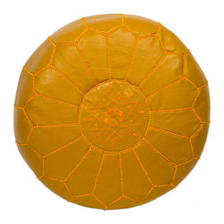 """Casablanca Market - Embroidered Leather Pouf, Mustard on Mustard - Authentic Moroccan hand-made leather hassock commonly known as Poof is made out of genuine soft leather. The poof is so practical it can be used as a foot stool, as a low seat next to your coffee table or in your children room. This pouf is pre-stuffed with cotton batting. This provides comfort and durability for the poofs.  Zippered bottom opening for easy stuffing. Measurement: Diameter: 20"""" Height: 12"""""""