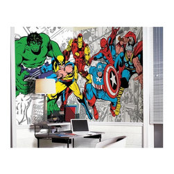 RoomMates - RoomMates Marvel Classics Character Mural Multicolor - JL1291M - Shop for Murals from Hayneedle.com! Perfect for any comic book fan the RoomMates Marvel Classics Character Mural lets you stand side by side with your classic Marvel favorites. This super hero mural features The Hulk Wolverine Iron Man Captain America Spiderman and Thor. A breeze to apply simply soak each pre-pasted panel in warm water then smooth it onto the wall. Once all the panels are in place step back and enjoy!About Roommates:Roommates a subsidiary of York Wallcoverings Inc. creates some of the most versatile and unique wall decor you'll find. Their innovative wall decals feature a removable and endlessly reusable design allowing you to move and rearrange your decals as often as you like all without causing any damage to your walls or furnishings. This means you can apply them without worry or headache since you don't have to get the application perfect the first time. RoomMates work on any smooth surface and are particularly ideal for temporary decorating such as around the holidays. All RoomMates products are proudly made in the USA and are made from non-toxic materials so they're as safe for your kids and pets as they are for your walls.