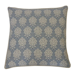 JITI - Pineapple Smoky Blue Pillow - Aloha! Inspired by the spiky pineapple, this pattern brings understated island flair to your sofa. Paired with solid colors and wide stripes, this pillow will fit right in on your favorite wicker sofa.