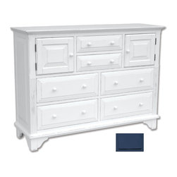 Tradewinds - Simple Cottage Chest of Drawers, Blue - Innumerable features and number of drawers with an aesthetic appeal , its presence in your interior will drop jaws to the ground of your onlookers and give them an idea of your decorating sense. Available in three designs, open hutch, bookcase and mirror with different color options available, this one is a top-notch decor. A large table top with four drawers at the bottom, two small drawers in the middle and two gate like small drawers towards its sides this chest is exceptionally spacious. Durability is ensured as it is made from plantation grown and kiln-dried mahogany and mindi as well as premium hardwood veneers.