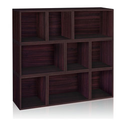 Way Basics - Stackable Oxford Modular Storage, Espresso - The Oxford Modular Organizer is a unique combination of our Cubes, Cubes Plus and Rectangle Plus. This configuration will stylishly adorn any room as a statement piece, room divider, or bookshelf for your home or office.