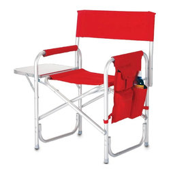 "Picnic Plus - Director's Chair, Red - Picnic Plus Directors Sport Chair With Folding Side Table & Side Panel Pockets, Red. Color/Design: Red; Lightweight durable folding aluminum chair; Made of durable 600D polyester; Perfect for outdoor seating; Wide reinforced seat and padded armrests were designed for optimum comfort; Large side panel has multiple pockets to accommodate your sunglasses, cell phone, books, water bottle and more; Aluminum side table folds out to hold food, drinks, and accessories; Weight capacity 300 lbs. Dimensions: 23""W x 19""D x 34""H open"