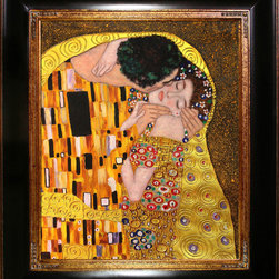 "overstockArt.com - Klimt - The Kiss Oil Painting (Luxury Line) Oil Painting - 20"" x 24"" Oil Painting On Canvas This painting is part of our ""Luxury Line"". It is made of the same hand painted oils on canvas, with the addition of beautifully hand embellished gold and silver accents. Exclusive only to our highest quality reproductions. Hand painted art reproduction of a famous Klimt painting , The Kiss. The original masterpiece was created in 1907-08. Today it has been carefully recreated detail-by-detail, color-by-color to near perfection. Gustav Klimt, the Vienna master painted the Kiss oil painting in 1907. The painting depicts a couple surrounded by a gold blanket and ornaments sharing a moment of sheer passion - the perfect kiss. In the oil and gold masterpiece, the man appears standing as he holds in his arms the kneeling woman. The two seem to be positioned on a flower field, kissing, totally engaged with one another. The woman seems to be following the lead of her partner, but is not taking an active part. The patterns of the man are mostly black and white rectangles, while the woman is engulfed in flowers. The identity of the people depicted in this oil painting is not exactly clear; some suggest that it is Klimt himself and his beloved partner, Emilie Floge. However, that is sheer speculation as Klimt made it a point never to paint himself. Gustav Klimt (1862-1918) was one of the most innovative and controversial artists of the early twentieth century. Influenced by European avant-garde movements represented in the annual Secession exhibitions, Klimt's mature style combines richly decorative surface patterning with complex symbolism and allegory, often with overtly erotic content. This work of art has the same emotions and beauty as the original. Why not grace your home with this reproduced masterpiece? It is sure to bring many admirers!"
