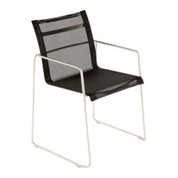 Control Brand - The Dynamic Arm Chair - The Dynamic Arm Chair is crafted with stainless steel legs in chrome finish. The back and seat of this chair is made of composite sling outdoor fabric for luxury comfort. This contemporary furniture piece is suitable for indoor and outdoor use.