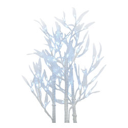 Zeckos - 96 LED Light Bamboo Tree Home Decor White LEDs - This 40 inch tall white bamboo tree decor piece contains 96 individual white LED lights for a dazzling light display. Each light is installed on its own leaf, and the twigs are flexible, so you can arrange them in hundreds of different ways While the branch is 38 inches long assembled, the lights start at about the 18 inch mark so you won't waste any light in your container. It comes with a 10 foot long power cord and metal display base.