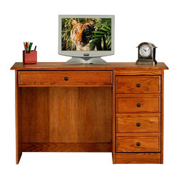 Eagle Furniture Manufacturers - Classic Oak Single Pedestal Computer Desk (Light Oak) - Finish: Light Oak. One keyboard with pencil drawer combo. One CPU storage door. Non-finished back. Made from oak solids and veneers. Warranty: Eagle's products are guaranteed against material defects for one year from date of delivery to the dealer. Made in USA. No assembly required. 49 in. W x 21 in. D x 30.25 in. H (79.67 lbs.)American oak hardwood and traditional styling make the Classic Oak collection one for the ages. Crown molding, antique brass hardware and solid oak frames and raised panel doors combine longevity and classic style in this enduring and popular collection.
