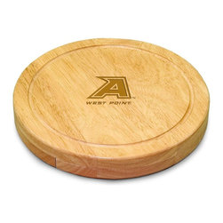 "Picnic Time - US Military Academy Army Circo Cheese Board - The Circo by Picnic Time is so compact and convenient, you'll wonder how you ever got by without it! This 10.2"" (diameter) x 1.6"" circular chopping board is made of eco-friendly rubberwood, a hardwood known for its rich grain and durability. The board swivels open to reveal four stainless steel cheese tools with rubberwood handles. The tools include: 1 cheese cleaver (for crumbly cheeses), 1 cheese plane (for semi-hard to hard cheese slices), 1 fork-tipped cheese knife, and 1 hard cheese knife/spreader. The board has over 82 square inches of cutting surface and features recessed moat along the board's edge to catch cheese brine or juice from cut fruit. The Circo makes a thoughtful gift for any cheese connoisseur!; College Name: US Military Academy Army; Mascot: Black Knights; Decoration: Laser Engraving; Includes: 1 cheese cleaver (for crumbly cheeses), 1 cheese plane (for semi-hard to hard cheese slices), 1 fork-tipped cheese knife, and 1 hard cheese knife/spreader"