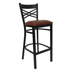 Flash Furniture - Flash Furniture Hercules Series Black Back Metal Restaurant Barstool - This heavy duty commercial metal bar stool is ideal for restaurants, Hotels, bars, Pool Halls, Lounges, and in the Home. The lightweight design of the stool makes it easy to move around. The tubular foot rest not only supports your feet, but acts as an additional reinforcement that helps secure the legs. This stool will keep you comfortable with the easy to clean vinyl upholstered seat. You will not regret the purchase of this bar stool that is sure to complement any environment to fill the void in your decor. [XU-6F8BXBK-BAR-BURV-GG]